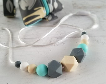 Gifts for Mom | Baby Teething Necklace | Nursing Sensory Necklace | Teething Jewelry | Teething Necklace Storage | Silicone Necklace