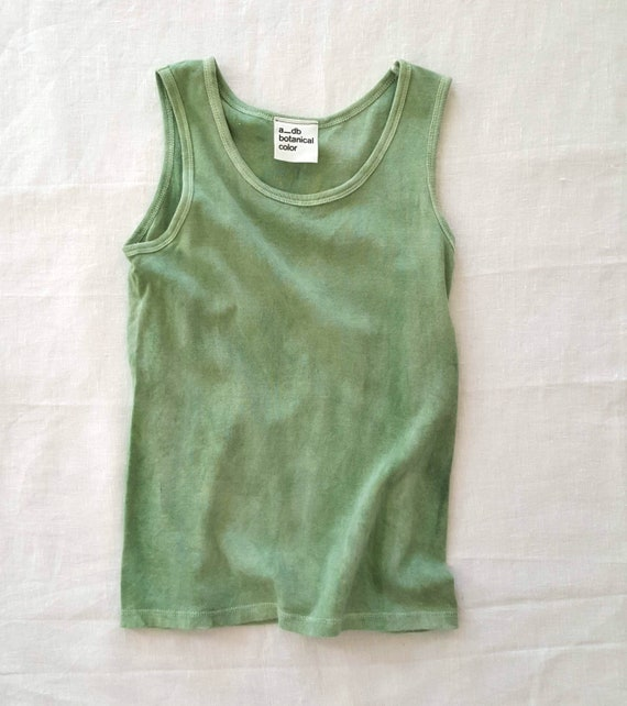 Botanically Dyed Children's Tank / Green Tank Top / Eco Fashion / Slow Fashion / Hand Dyed / Botanical Color / Natural Color / Summer