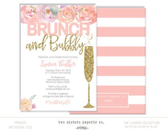 Floral Brunch and Bubbly Bridal Shower Invitation - LAUREN Collection - Brunch & Bubbly Invitation - Glitter Brunch and Bubbly Invitation