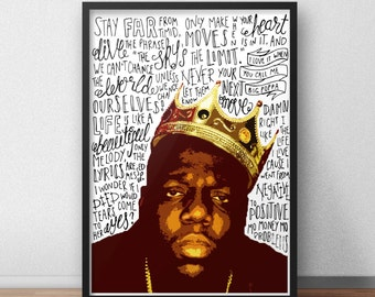 Biggie Smalls quote print / poster hand drawn type / typography