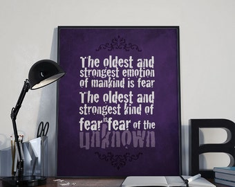 Gothic Art Print - Fear - HP Lovecraft - PRINTABLE 8x10 inches- Wall Decor, Inspirational Print, Home Decor, Gift