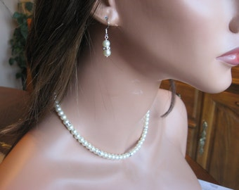 Wedding Jewelry Set-Classic White Pearl and Swarovski Rhinestone Rondelle Necklace and Earring Set - Brides or Bridesmaid Jewelry Set