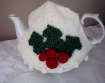 Holly and berry hand crafted tea cosy