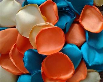Turquoise rose petals, Orange rose petals, Gold rose petals, wedding decor, wedding petals, wedding toss, wedding petals, table decorations.