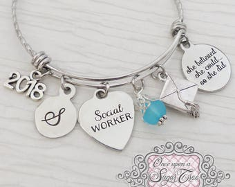 Social Worker Graduation Gifts, She believed she could so she did Bangle Bracelet,Personalized Gifts for Social Workers, 2018 Grad Gifts