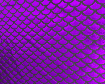 SALE Purple mermaid fish scale spandex fabric sold by the yard