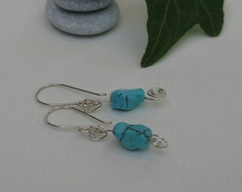 Turquoise nugget earrings with sterling silver finishes