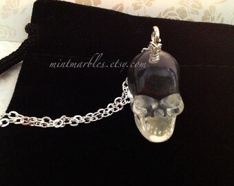 Crystal Skull Necklace. Resin Skull. Silver Chain. Long Necklace. Spooky. Clear Skull. Halloween. Skull Jewelry. Under 20. Unisex. Gothic.