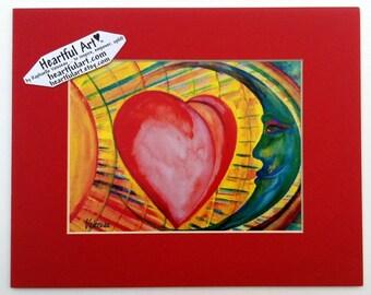 UNIVERSAL LOVE Print Sun MOON Heart Childs Room Decor Baby Shower Gift Kids Nursery Happy Positive Women Heartful Art by Raphaella Vaisseau