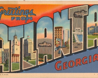 Linen Postcard, Greetings from Atlanta, Georgia, Capitol, Cyclorama, Large Letter, 1944