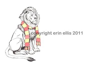 Gryffindor Lion 5x7 Print