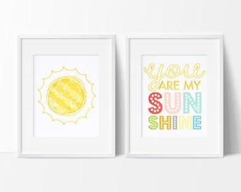 You Are My Sunshine Nursery Art, Nursery Decor, Children's Art Prints, Playroom Art, Kids' Room Decor