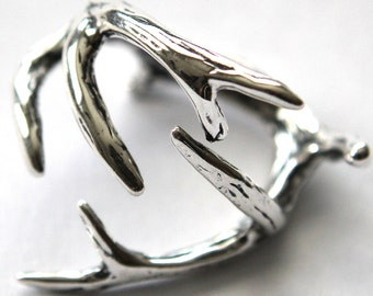 Antler Ring Silver Antler Ring Solid Sterling Antler Ring - Moon Raven Designs 075
