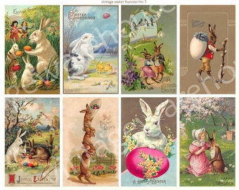 ANTIQUE EASTER POSTCARDS no 1 - cute Bunnies and Eggs - Instant Download Digital Printable- 8 images