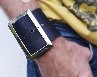 Large Blue Leather Buckle Bracelet, Tribal Bracelet, Hippie Bracelet, Boho Bracelet, Leather Bracelet, Womens Bracelet, Mens Blue Bracelet