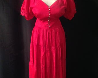 1940's 40s 1950's 50s  Cherry Red Taffeta Party Dress / 3-tiered circle skirt / off the shoulder puff sleeve/ rhinestone buttons