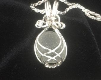 White wire wrapped sea glass necklace, sea glass pendant, sea glass jewelry, beach glass jewelry