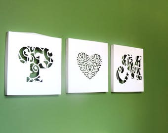 Canvas wall art initials paper x 3 - Original personalized gift - free shipping