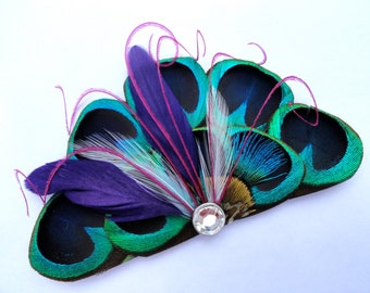 RIO Peacock Blue, Purple, and Pink Feather Hair Clip, Bridal Hair Piece