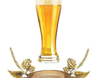 Hefeweizen Craft Beer Watercolor Illustration
