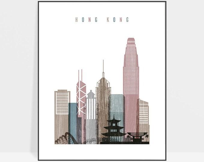 Hong Kong skyline, Hong Kong print, poster, Hong Kong skyline, Travel decor, wall art, Housewarming gift, Home Decor, ArtPrintsVicky
