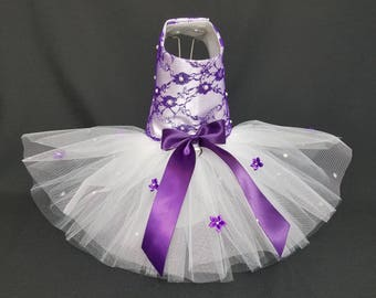 Dog Dress, Tutu Dog Dress, Wedding Dog Dress, Dog Harness Dress, Wedding Harness Dress, Tutu Harness Dress, Purple Dog Dress