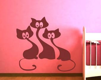 cats wall decals cats wall decor cats wall art cats wall sticker (Z657)