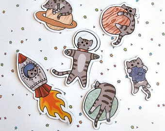 Cute Cat Magnet Set, Refrigerator Magnets, Cubicle Decor,  Space Kitty, Cat Magnet, Fridge Magnet Cute Kitty Magnet, Funny Cat Magnets