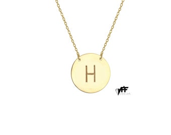 Personalize 18k Gold Disc Necklace Monogram Initial Handmade pendant on sterling silver