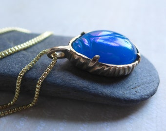 Blue Glass Scarab Beetle Necklace - Scarab Bug Insect Bezel Set Brass Pendant - Lucky Beetle Jewelry - Blue and Gold Glass Scarab Necklace