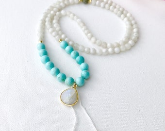 Moon Mala Necklace Mala Beads 108 Rainbow Moonstone Mala Turquoise Mala Necklace Moonstone Mala 108 Mala Beads Turquoise Mala Beads Yoga
