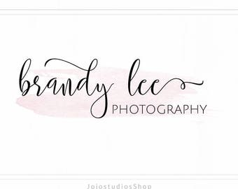 Rose Gold Logo Design, Premade Logo, Photography Logo, Calligraphy Logo, Watermark Logo, Wedding Logo, Stamp Logo, Logo with Watercolor L127