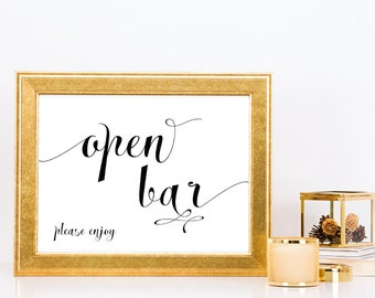 Open bar frame etsy open bar wedding signs prints alcohol sign party table top signs plain solutioingenieria Gallery