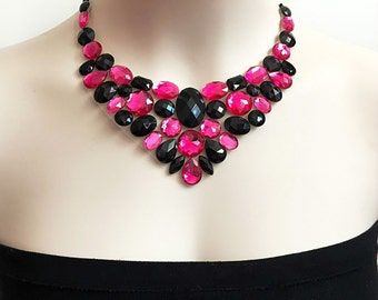 hot pink and jet black bib rhinestone necklace, wedding, bridesmaids, prom necklace, gift or for you NEW