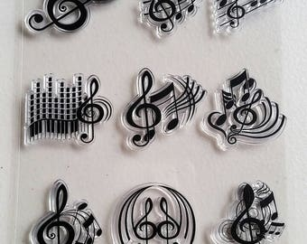 Music Note Clear Stamp Set - 9 Pieces