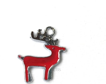 1-5 Red Reindeer Charm or Pendant. High quality enameled metal charm. Beautiful Pendant.