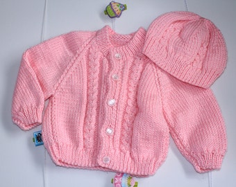 Pink Patterned Cable Hand-knitted Cardigan and Matching  Beanie