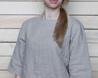 Pure Linen Blouse/Top Boatneck and 3/4 Sleeves/ Linen Oversize Blouse