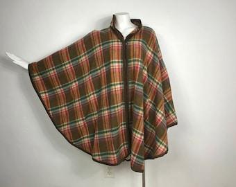 Vtg 70s plaid wool poncho cape coat