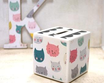Kitty Bank, Colorful Kitties, Kitten, Cat, Kids, Tirelire, Wood Bank, Money box, Coin Box, Cash Box, Wooden, Kids room decor, Handmade