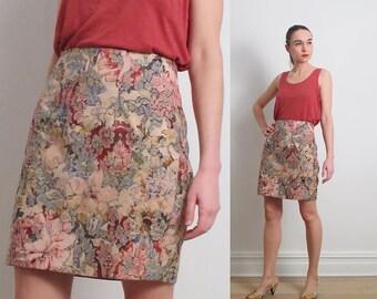 80s Pink Brocade Mini Skirt / M