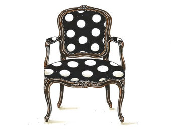 Black and White Polka Dot Chair Illustration Art Print Home Decor 8x10