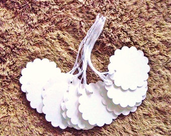 100-  2 inch -  Round Scalloped PRE - STRUNG  White Cardstock Tags  - Free Secondary Shipping