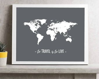Gray world map etsy world map travel print to travel is to live world map poster gray world map travel themed gift white world map print travel wall art gumiabroncs Image collections