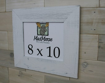 """8x10 PAINTED WHITE Barn Wood [Thin x 3""""] Picture Frame"""