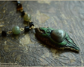 Earth goddess necklace - Madre Terra - connection - handsculpted in modelling clay - OOAK - Handmade jewelry sculpt