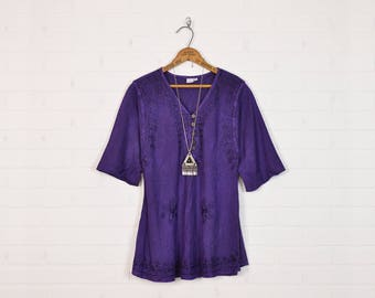 Vintage India Tunic Top India Blouse India Top India Shirt India Embroidered Blouse Ethnic Top Boho Top Hippie Top 70s 90s Purple M Medium