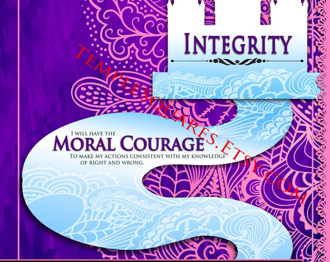 """Printable - 3 sizes! LDS Young Women Personal Progress Values """"Integrity"""" Ar Instant Download Digital Files"""
