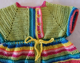 Colorful, crocheted cotton toddler dress
