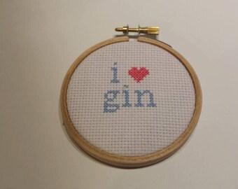 Handmade cross stitch- I heart gin